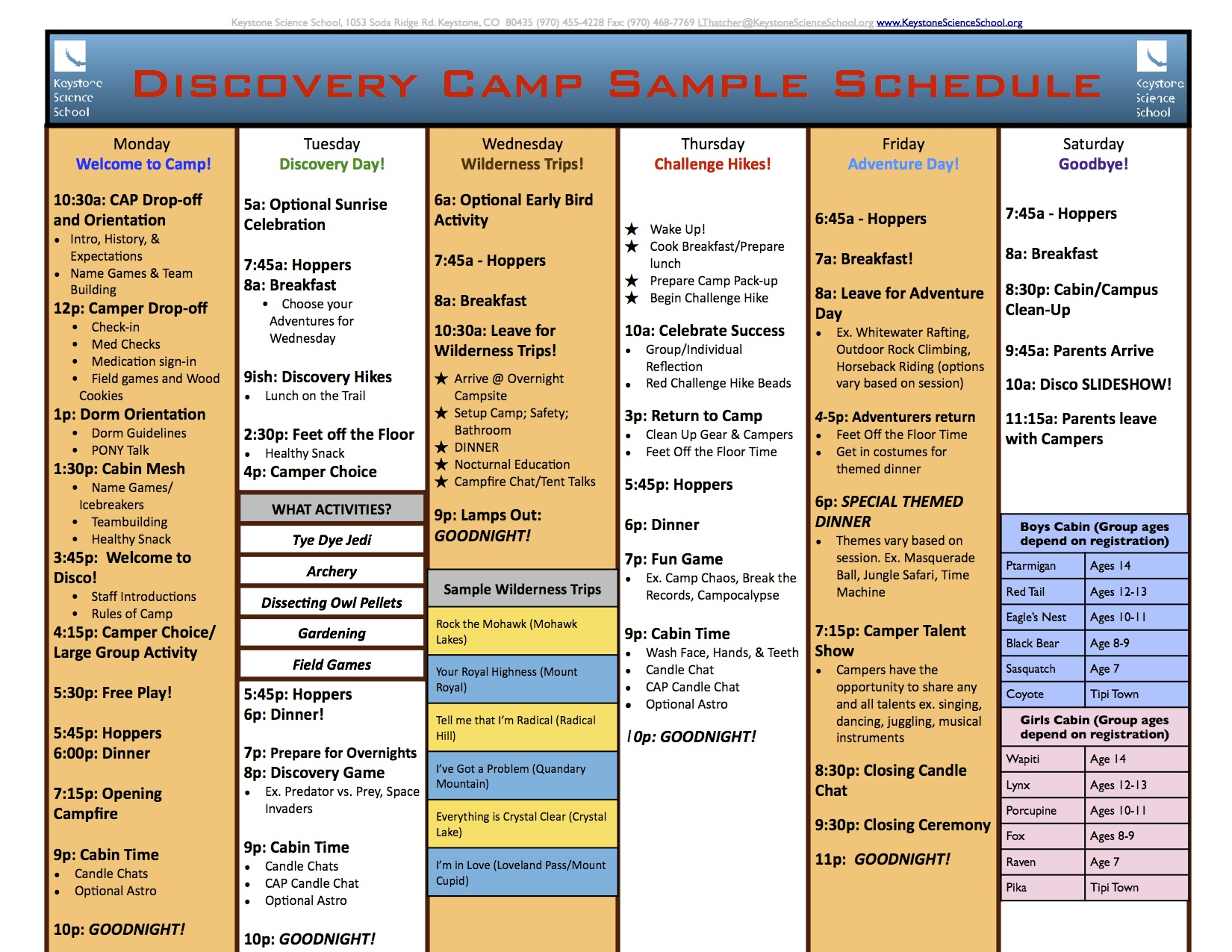 sample summer camp schedule. Black Bedroom Furniture Sets. Home Design Ideas
